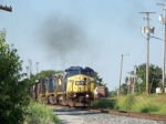 CSX 7660 leads G604 southbound unit grain toward N. Morgantown siding 7/2/08