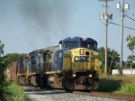 CSX 7660, 7658, 7328 lead G604 southbound unit grain toward Morgantown Road crossing 7/2/08