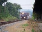 CSX 7489 (in former Conrail paint) leads southbound freight toward the L&N Depot 7/9/08