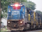 CSX 7489 (in former Conrail blue) leads a southbound manifest past the old L&N Depot 7/9/08