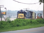 CSX B30-7 5512 leads a MOW train south toward Emmitt Drive 7/18/08