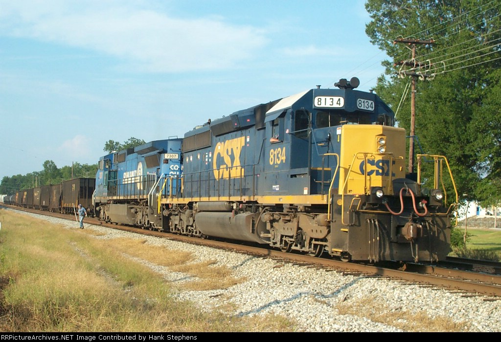 CSX 8134 leads power for local A746 on the old WofA tracks at West Point siding.  The train is tying up for the day, with the locomotives cut off and preparing to tie up in the house track on the north end.