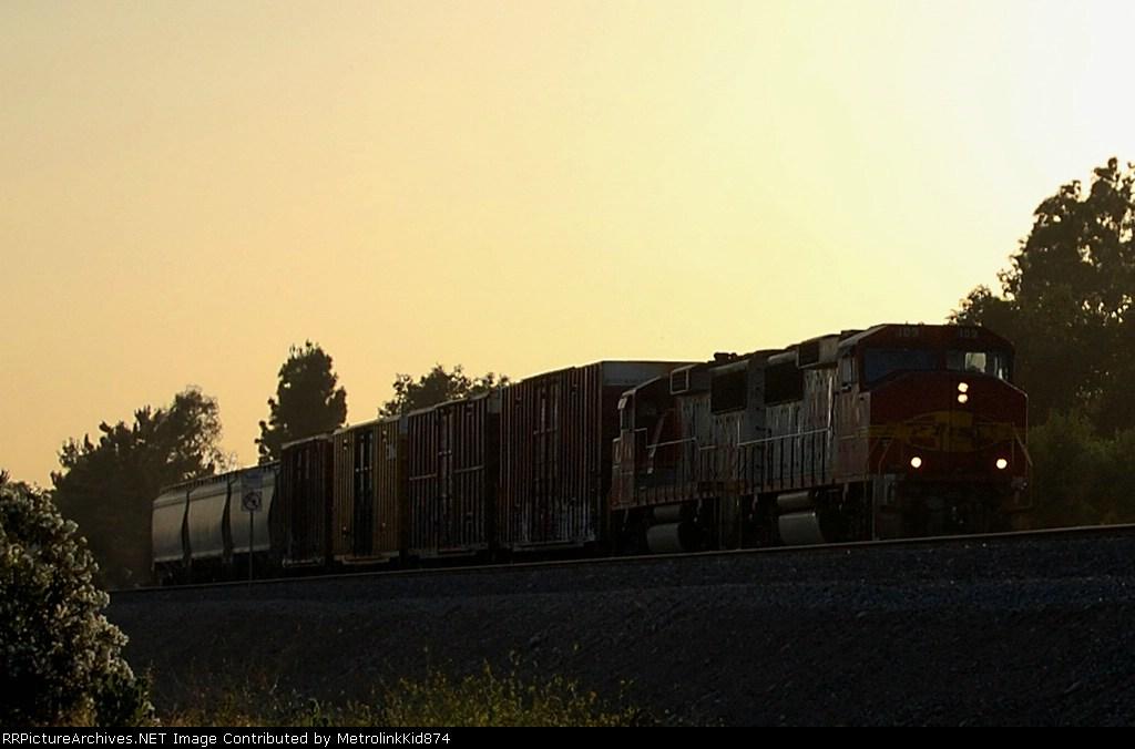 BNSF 103 under the setting sun