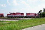 RJ Corman Geeps 1603, 1739 are pointed toward Guthrie on the wye at Corman Distribution Center 7/17/08