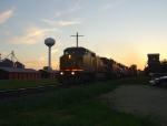 UP 9446 speeds the detour toward Chicago at sunset
