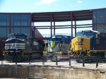 Norfolk Southern 9678, Delaware and Hudson 7312, and CSX 909 at Steamtown