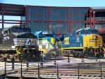 Norfolk Southern 9678, Delaware and Hudson 7312, and CSX 909 at Lackawanna Railfest 08 at Steamtown
