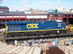 CSX 909 on the turntable at Steamtown