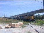 UP 3646 UP2730  28Jul2008  Pushed back onto CapMetro tracks while thru traffic clears on the UP tracks