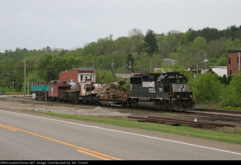 NS 7132 with work train at Corning, called in to clean up a slide