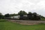 NS 2563 leads NS train 381 north through Addison OH on CSX tracks