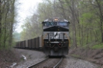 NS 7610 heads down grade after shoving a train up Moxy hill, they will be working hard again to get the train to New Lex