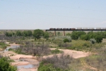 BNSF 4445 leads westbound over the Pecos River bridge