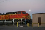 BNSF 5293 changes crew as the moon comes up