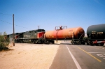 3 AC44-9Ws switching tank cars just north of Mojave airport on the Lone Pine Branch.