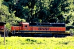 "BNSF ""snoot"" SD40-2 6798 is the second unit on the siding at Lawrence with an eastbound."