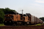 Union Pacific winged C44-9Ws 9778 and 9785 lead a westbound train of auto racks.