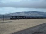 SD19-1 MRL 652 pulling a load of coal in front of Sheep Mtn.