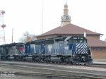 MRL locomotives outside depot