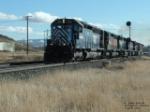 MRL 371 SD45 leading six locomotives hauling flatcars