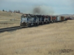 MRL 371 leading seven locomotives out of town