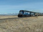 MRL 331 SD45-2 in front of the Crazy Mountains