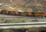 4 engines leading a BNSF train down Cajon Pass