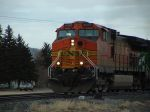 BNSF 4053 leaving town on a hazy day