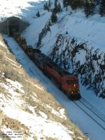 BNSF 8289 and TFM 2607 coming through Bozeman Tunnel
