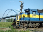 DME 6080 in front of the US 18 Mississippi River bridge