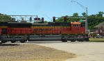 BNSF 9198 crossing Jones St. as the train gets moving again