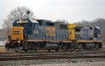 CSX 2743 & 5946 running light in the rain