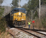 CSX 725 with train U127-23 stops at the switch that will take this train into Deerhaven Power plant