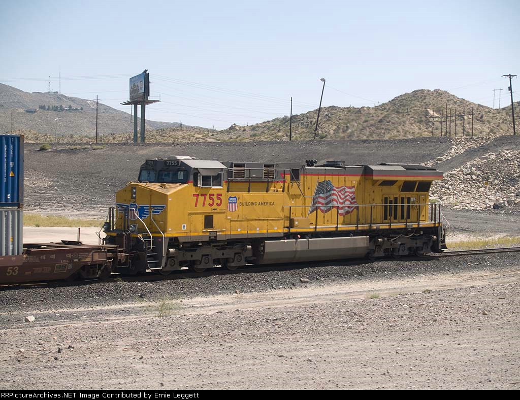 UP 7755 rear DPU in a WB doublestack at 11:55am