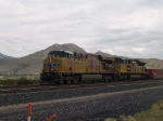 UP 7603 leads a WB doublestack at 11:49am