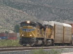 UP 8430 leads a WB doublestack/autorack at 2:06pm