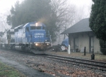 NS 3422 and the Fog roll pass old freight house