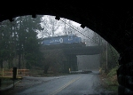 NS train headed by Conrail 3422 in the damp cool fog