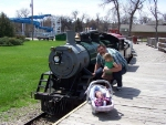 Me and My Daughters Next to the 2ft Gauge GN #1177 Roosevelt Park Train