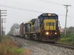CSX 7601 leads Q326-24 through the morning fog