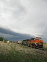 BNSF 1093 Leads DENKCM out of severe Storms