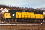 the bright yellow of this GP40 stands out in the sun at Conway yard