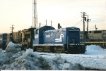 SW9 8637(ex PC/NYC) sits in the snow awaitng service at Oak Island