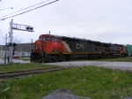 CN 405 departing Saint John with a short train