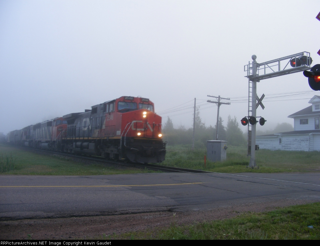 CN 120 on a foggy morning in Memramcook