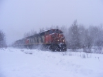 CN 305 at Berry Mills in a snowstorm
