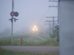 CN 120 on a foggy morning in Memramcook