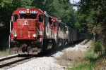 EB INRD 6018, 6007, and 6009 pulls a loaded coal train through scenic  Indiana.