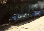 C32-8 6619 leads a southbound River Line train out of the south end of the Haverstraw tunnel