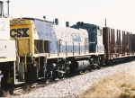 One of CSXT's MP15T's follows another on a transfer move in city limits